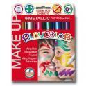 Pevná tempera MAKE UP - Metalické 6 barev po 5g